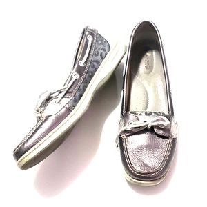 《Sperry》Top Sider Silver Loafers Sz 9 M Shoes